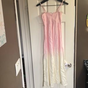 Two toned pink and white maxi dress
